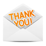 Paper envelope with Thanks Royalty Free Stock Photography