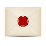 Paper envelope with TOP SECRET wax seal Stock Image