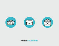 Paper envelopes flat illustration Set of line modern icons Royalty Free Stock Photo