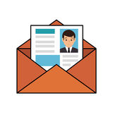 Paper envelopes opened with cv sheet Royalty Free Stock Image