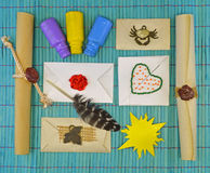 Envelopes with decorations Stock Image