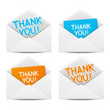 Paper envelopes with Thanks. Message vector illustration