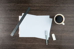Paper, Eraser Ruler and Mechanical pencil with coffee Royalty Free Stock Photo