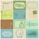 Paper etiketter för Scrapbook och designelement stock illustrationer