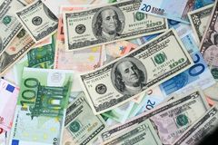 Paper euros and dollars Royalty Free Stock Image