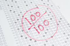 Exam Test , 100 Score Royalty Free Stock Photography