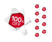 Paper explosion banner collection off with share discount percentage. Vector illustration stock illustration