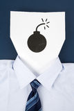 Paper Face and Bomb Sign Stock Photo