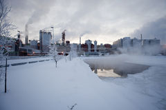 Paper Factory In Winter Stock Image