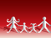 Paper family. On red background Royalty Free Stock Images