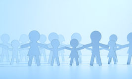 Paper family on blue background Royalty Free Stock Images