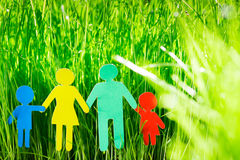 Paper family in grass Stock Photos
