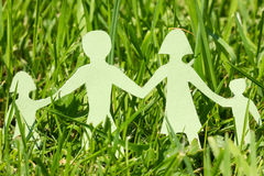 Paper family on a  green grass Royalty Free Stock Images