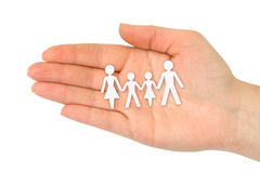 Paper family in hand Stock Photo