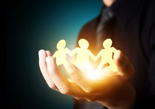 Paper family in hand Royalty Free Stock Photography
