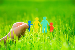 Paper family in hand Stock Photography