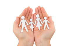 Paper family in hands Royalty Free Stock Images
