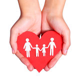 Paper family and Heart in hands isolated on white background Stock Photos