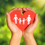 Paper Family and Heart in Hands over Green Sunny Background Stock Images