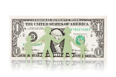Paper family and one dollar banknote Royalty Free Stock Photos
