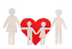 Paper Family and Red Heart isolated on white. Love and Family Stock Image