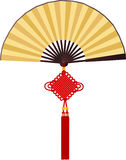 Paper fan with Chinese knotting Royalty Free Stock Photography