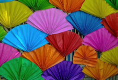 Paper fan. Many of colorful paper fans Stock Image