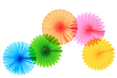 Paper fans. Colorful paper fans isolated on white Royalty Free Stock Photo