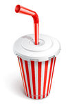 Paper fast food cup with red tube Royalty Free Stock Photos