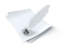 Paper with feather Royalty Free Stock Photos