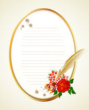 Paper, feather and rose. Vector background Stock Photo