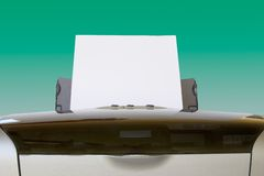 Paper feed horizontal. Horizontal view. Paper feed into desktop printer. Clipping path included Stock Photography
