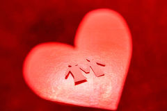 Paper of female and male in red heart. Paper of female and male in red Valentine`s heart stock photos