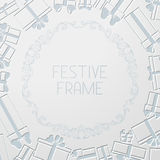 Paper festive background. Gift boxes and ornate design elements. There is place for your text in the center Stock Photo