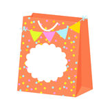 Paper festive gift bag vector with tag label. Paper festive gift bag vector with blank tag label. Bunting flags and confetti package Stock Photo