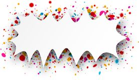 Figured background with confetti. Paper figured white background with color confetti. Vector illustration Stock Photos