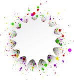 Figured background with confetti. Paper figured white background with color confetti. Vector illustration.r Stock Photos