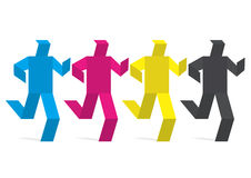 Paper figures colored in print colors. Royalty Free Stock Photo