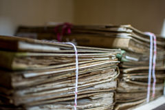 Paper files in folder old documents or old letter. Paper files in a folder is a old documents or old letter it's a age-old and ancient archiving by stacking up Stock Photos