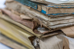 Paper files in folder old documents or old letter. Paper files in a folder is a old documents or old letter it's a age-old and ancient archiving by stacking up Stock Image