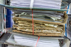 Paper files in folder old documents or old letter. Paper files in a folder is a old documents or old letter it's a age-old and ancient archiving by stacking up Stock Photo