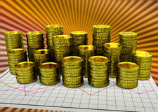 Paper financial graph with golden coins. Financial graph paper with golden coins - 3D render Stock Image