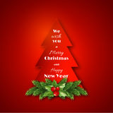 Paper fir-tree with Christmas decorative fir branches and holly. Merry Christmas and Happy New Year text. Red  background. Vector illustration Stock Photo
