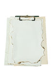 Paper from a fire. On white background Stock Photo