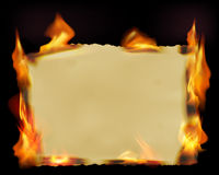 Paper with fire flames Royalty Free Stock Images