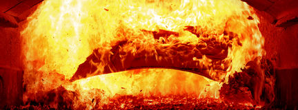 Paper fire inside steam boiler Royalty Free Stock Photo