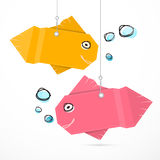 Paper Fish Hang on Strings Royalty Free Stock Images