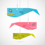 Paper Fish Hang on Strings. Paper Fish Made from Blue, Pink, Green Cardboard Hang on Strings Stock Photo