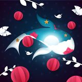 Paper fish illustration. Cartoon sea landscape. Moon, cloud, star. Paper fish illustration. Cartoon night landscape. Vector eps 10 Royalty Free Stock Photography