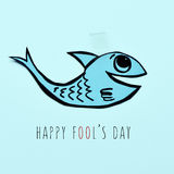 Paper fish and text happy fools day Royalty Free Stock Photos